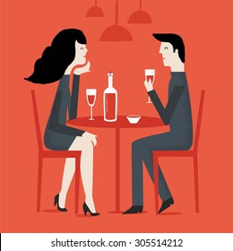 Romantic couple sitting in cafe - sharing a bottle of wine. Man and woman in a restaurant. Vector illustration