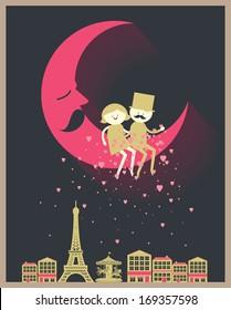 romantic couple sitting on the moon sprinkling heart Paris Eiffel tower vector/illustration