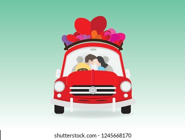 Romantic couple is sitting in red retro car with hearts on roof silhouetted on green background,  young man and woman kissing, paper cut style vector illustration for Valentine decoration