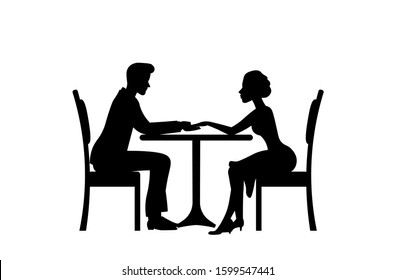 Romantic couple sitting at the table and having dinner silhouette. Two lovers holding hands,watching at each other and having conversation. Valentine's day concept. Vector illustration.