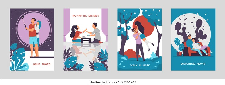 Romantic couples posters. Cartoon characters walking and enjoying time together, postcards with love scenes. Vector collections vertical illustrate image happy boy and girl on date