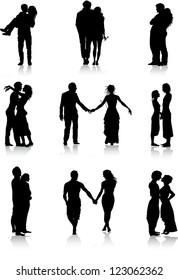 Romantic couples silhouettes