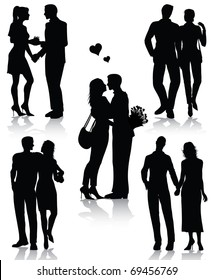 Romantic couples silhouettes (also available jpg version)
