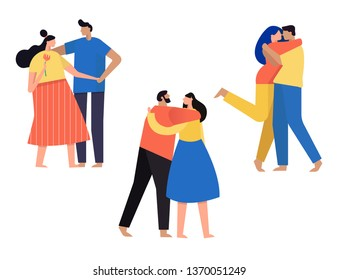 Romantic couples walking together or pairs of men and women. Happy romantic loving couples cartoon vector Illustrations.