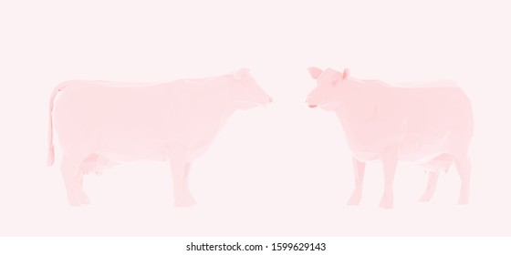 Romantic Cow. Set of Pink Cows on Feminine Background. Low Poly Valentines Vector 3D Rendering