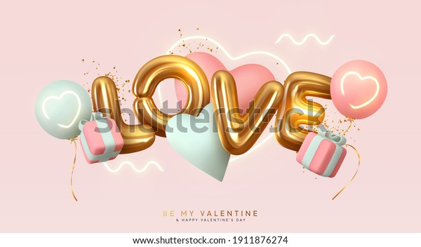 Romantic creative composition. Happy Valentine's Day. Realistic 3d festive decorative objects, heart shaped balloons and Love letter. falling gift box, glitter gold confetti. Holiday banner and poster