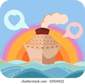 Romantic cruise liner in the sunset. Vector illustration. No gradients, textile style
