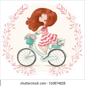Romantic cute girl bicycle riding vector design.