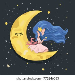 Romantic cute girl sitting on the moon with stars.