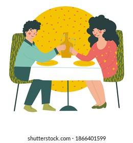 Romantic date in restaurant on Valentine's Day. Cartoon people vector illustration.