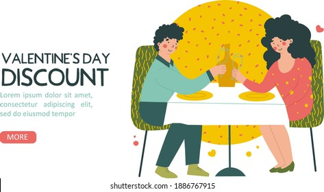Romantic date in restaurant on Valentine's Day, discount, flat vector landing page template. Cartoon people vector illustration.