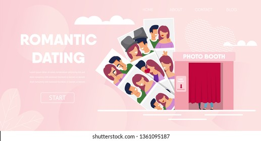 Romantic Dating Concept. Love Couple Boyfriend Girlfriend Have Fun Photo Booth Cabin Cartoon Vector Illustration. Funny Photo Picture Man Woman Smiling Portraits with Props Hat Mustache.