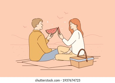 Romantic dating, picnic, summertime concept. Young happy couple cartoon characters sitting on floor having picnic talking smiling eating ripe fresh watermelon together vector illustration