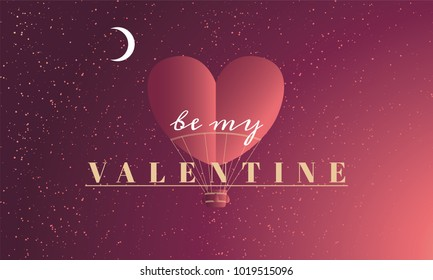 Romantic Valentine's Day Title. Clean Minimalist composition with heart shaped baloon and typography.