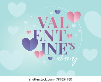 Romantic Valentine's Day Title. Clean Minimalist composition with heart shapes and typography.