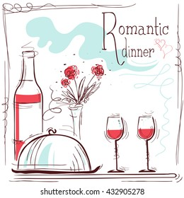 Romantic dinner card. Vector illustration with wine and food and text
