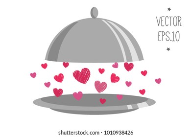 romantic dinner. cooking with love. Happy valentines day. Vector illustration concept