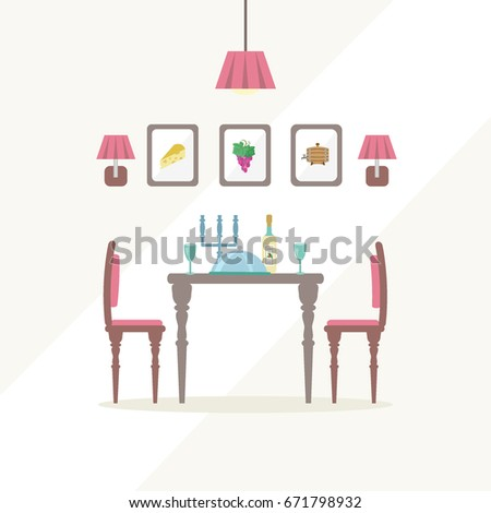 Romantic Dinner Flat Style Illustration Date Atmosphere Dining Room Interior Template Typical Furniture Items Help To Demonstrate Design Ideas