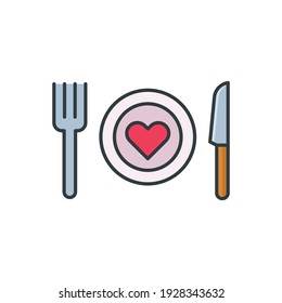 Romantic dinner icon, color, line, outline vector sign, linear style pictogram isolated on white. Symbol, logo illustration