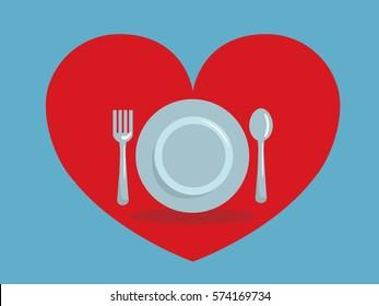 Romantic dinner icon design concept