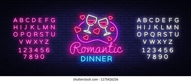 Romantic Dinner Neon Logo Vector. Wine neon sign, design template, modern trend design, night neon signboard, night light advertising, light banner, light art. Vector. Editing text neon sign