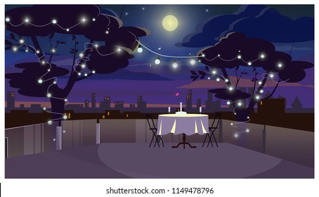 Romantic dinner on roof with served table vector illustration. Trees decorated with lights, full moon in dark sky. Date concept