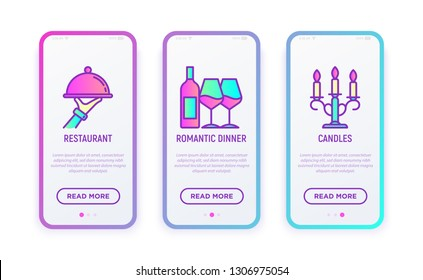 Romantic dinner at Valentine's day thin line icons set: food service, cloche, wine and two glasses, candelabrum. Modern vector illustration.