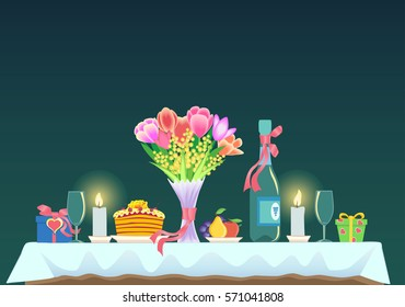 Romantic dinner.Table with a bouquet of flowers, champagne, wine glasses, cake and fruit,  gifts. Valentine's day. Vector illustration.