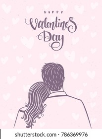 Romantic doodle of happy loving couple of loving couple. Valentines Day. Happy Lovers. Vector illustration.