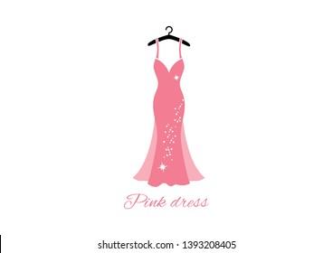 Romantic elegant pink dress on hanger