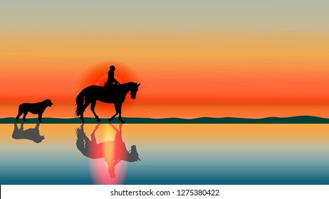 Romantic equestrian background horse rider and big dog silhouettes at sunset on the beach with reflections in the water. Summer vector landscape. Horse riding theme.