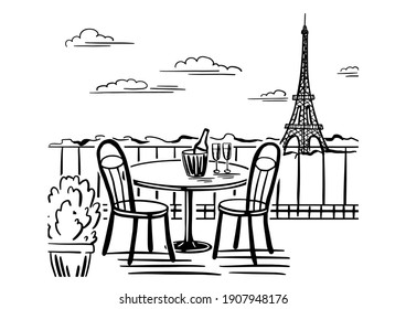 A romantic evening in a cafe on the terrace overlooking Paris. Hand drawn sketch. Vintage style. Black and white vector illustration isolated on white background.