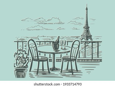 A romantic evening in a cafe on the terrace overlooking Paris. Hand drawn sketch. Vintage style. Vector illustration isolated on color background.