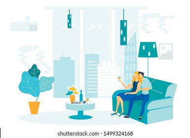 Romantic Evening, Home Dinner Vector Illustration. Young Married Couple Cartoon Characters. Husband and Wife Sitting on Sofa Drinking Wine, Eating Sushi. Romance, People in Love on Date Indoors