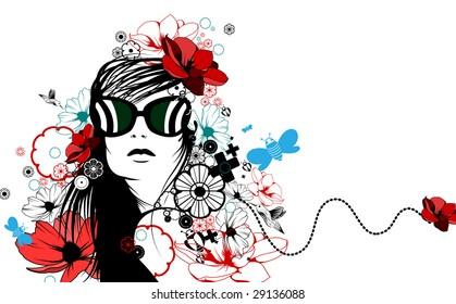 Romantic fashion illustration, allegory for spring