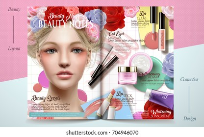 Romantic fashion magazine, cosmetic products with beautiful model decorated with floral elements in 3d illustration, geometric background