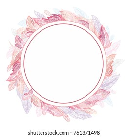 Romantic Feather Vector Frame Circle detailed ornamental boho chic elegant card invitation template in pink and rose colors