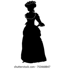 Romantic female silhouette in vintage style. Long antique dress, lace, hat, curly hair. For poster, print, design, covers, fabric, logo, advertising, interior decor, salon, decoupage, scrapbook, cards