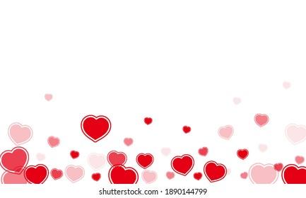 Romantic flat scattered hearts falling, vector art illustration.