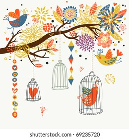 Romantic floral background with cartoon birds