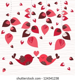 Romantic floral background for Valentine's day with two loving birds