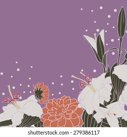 Romantic floral background for wedding, funeral, birthday, invitation card etc. Vector hand drawn lily and dahlia.