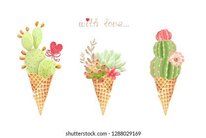 Romantic floral collection with delicate succulents, cacti, flowers and heart decor in waffle cone ice cream, vector holiday illustration. Invite template on white background for your design.