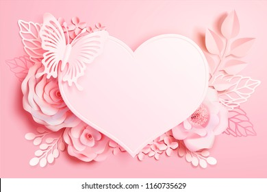Romantic floral paper art with heart shape and butterfly in pink tone, 3d illustration