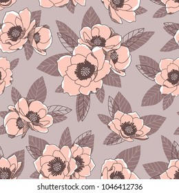 Romantic floral pattern with abstract leaves and anemones. Soft color palette. Vector design.