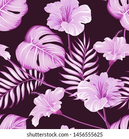 Romantic floral seamless pattern with beautiful flower dark pink background. Flowers Pattern for wrapping paper and fashion prints. Vector.