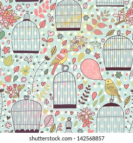 Romantic floral seamless pattern with empty cages and birds. Vector spring background. Wedding stylish decoration.