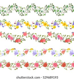 romantic floral set of seamless borders with roses, crocus, chrysanthemum daffodils for your design