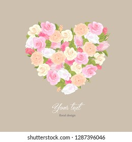 Romantic floral template birthday, Valentines day. Heart garland pink, white and orange rose on kraft paper background. Boutique concept, flower shop, beauty salon, spa, fashion