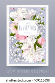 Romantic flower invitation or greeting card for weddings, Valentine's Day and other events with Peonies, leaves, Gypsophila and vintage label. Hand drawn alphabet included.